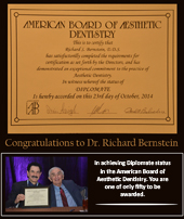 Cosmetic Dentist Farmington Hills - Dr. Bernstein achieving Diplomate status in the American Board of Aesthetic Dentistry